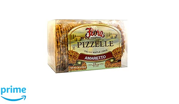 Amazon.com : Pizzelle Cookies by Flora Foods - Italian Waffle Cookie - Sweet Snack - Great snack ONLY 23 calories (Amaretto) : Grocery & Gourmet Food