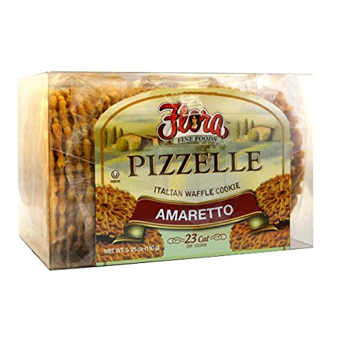Pizzelle Cookies by Flora Foods - Italian Waffle Cookie - Sweet Snack - Great snack ONLY 23 calories (Amaretto) ()