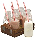 Circleware Dairy Farm Set of 6 Glass Milk Bottles/Drinking Glasses with Wooden Tray and Strong Reusable Straws, 6-10 Ounce Cups, 6 Straws and 1 Tray, Limited Edition Glassware Serveware Drinkware