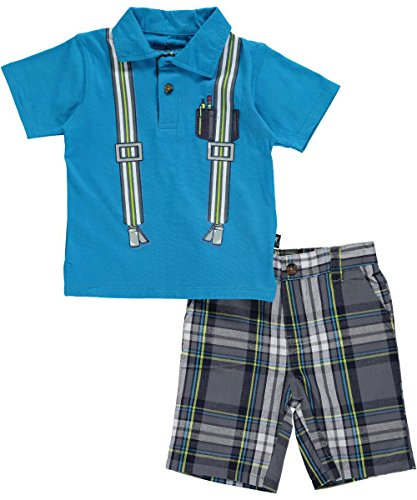 """Kidzone Baby Boys' """"Plaid Pocket Protector"""" 2-Piece Outfit - blue, 24 months"""