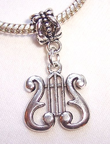 (Lyre Musical Harp Music Note Symbol Dangle Charm for European Slide Bracelets Crafting Key Chain Bracelet Necklace Jewelry Accessories Pendants )
