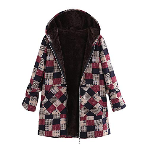 Women Winter Warm Outwear Floral Print Hooded Pockets Vintage Oversize Coats (Rack Vintage Rick)