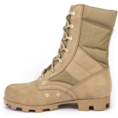WIDEWAY Men's Military Jungle Boots Full Grain Leather Speedlace Desert Boots Combat Outdoor Work Water Resistant Boots, Sand