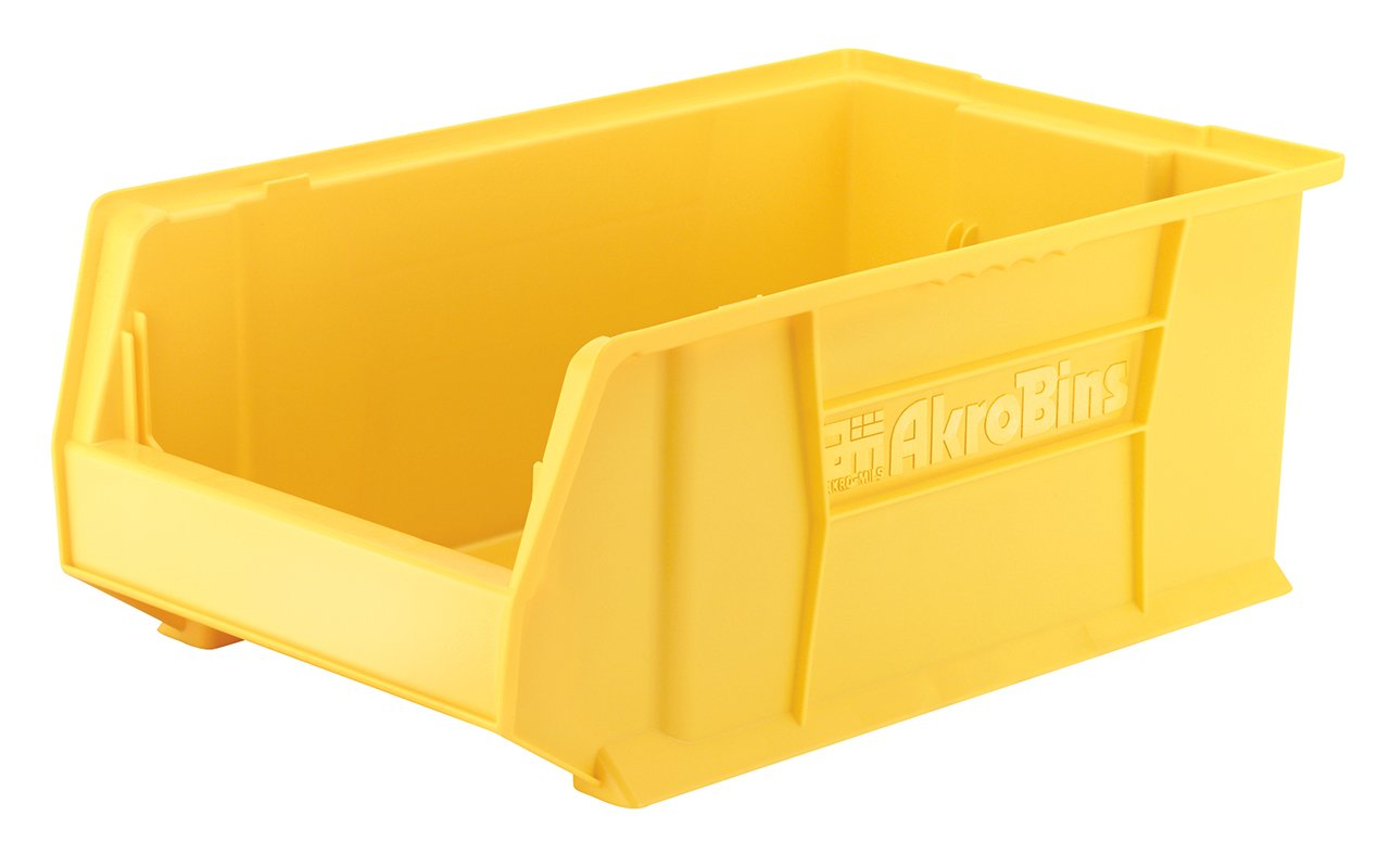 Akro-Mils 30281 20-Inch D by 12-Inch W by 8-Inch H Super Size Plastic Stacking Storage Akro Bin, Yellow, Case of 3 by Akro-Mils
