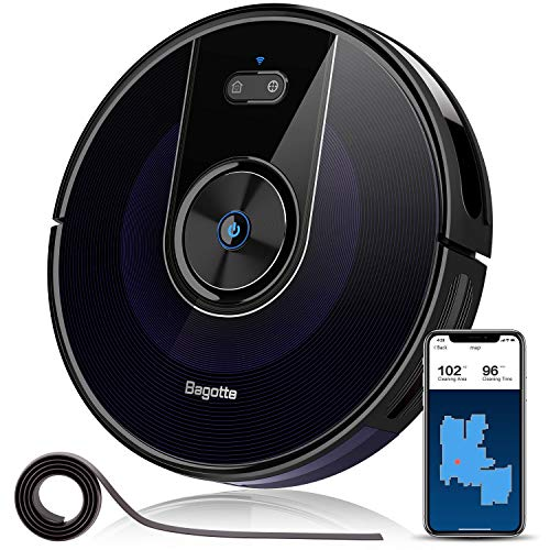 "Robot Vacuum, Bagotte 2200Pa & Mapping Robotic Vacuum Cleaner: Wi-Fi Connectivity, 2.7"" Super-Thin, Methodical Cleaning, Scheduling, Boundary Strips for Pet Hair,Hardwood Floors & Carpets"
