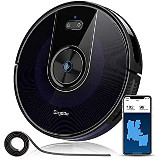 """Robot Vacuum, Bagotte 2200Pa & Map Robotic Vacuum Cleaner: Wi-Fi Connectivity, 2.7"""" Super-Thin, Methodical Cleaning, Scheduling, Boundary Strips for Pet Hair,Hardwood Floors & Carpets"""