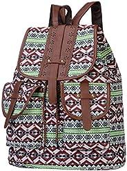 KEJINKCSEE Women's Vintage Bohemian Backpack Fashion Print Casual Drawstring Backpard Student Bags Outdoor