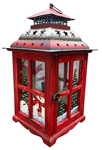 Christmas Snowman Lantern Decoration - Decorative Holiday Table Centerpiece or Hanging Lantern Holder for Pillar Candle or LED Light Indoor Use, by Clovers Garden (16