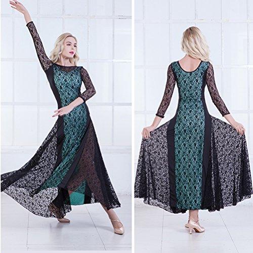 Ballo xxl Vestiti Pizzo Vestito Pratica Da Moderno Danza Colore Moderna Cucitura Donne Green I Per Xl Wqwlf AqaHp0F7w