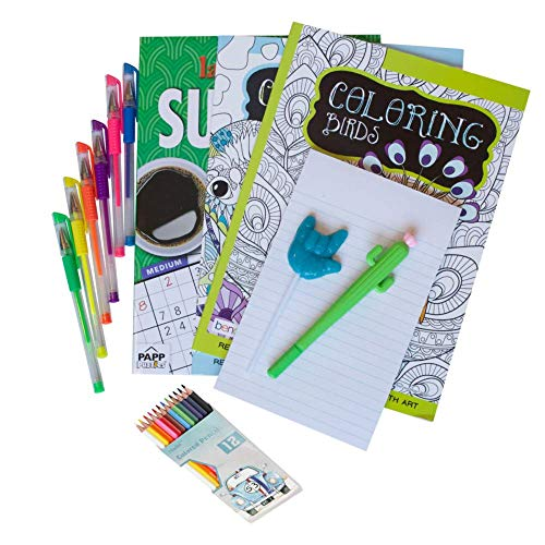 Coloring Care Package with Birds and Animals Books, Sudoku, Pens and Pencils, Cactus Pen, Notepad and a Surprise Squishy Stress Ball