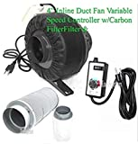 USA Premium Store 4'' Variable Speed Control Inline Hydroponic Duct Fan Blower 190CFM Carbon Filter