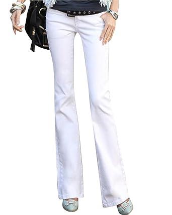 150634b0509 ZongSen Femme Bootcut Pantalon Taille Basse Vintage Large Ample Stretch  Jeans Blanc 25