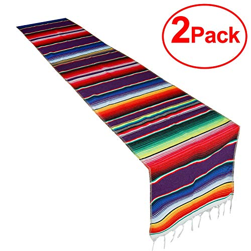 (CRJHNS Table Runner 2 Pack Mexican Cotton Serape Runners Set for Party Wedding and Home Decorations,14x84 Inch (14x84/2 Pack))