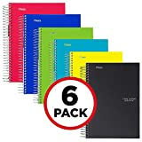 "Five Star Spiral Notebooks, 1 Subject, College Ruled Paper, 100 Sheets, 11"" x 8-1/2, 6 Pack (38052)"