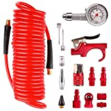 Hromee Air Compressor Accessory Kit 16 Piece 1/4 inch NPT Air Tool Kit Recoil Poly Air Compressor Hose with Brass Ends and Bend Restrictor End Blow Gun and Air Hose Fittings