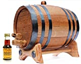 2 Liter Whiskey Barrel Kit for Aging - Alcohol Essence Honey Bourbon - Golden Oak Barrel Black Steel