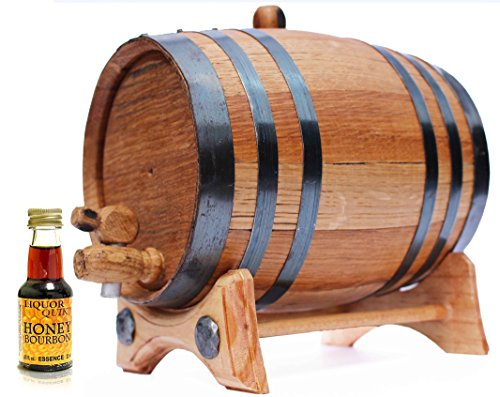 - 2 Liter Whiskey Barrel Kit for Aging - Alcohol Essence Honey Bourbon - Golden Oak Barrel Black Steel
