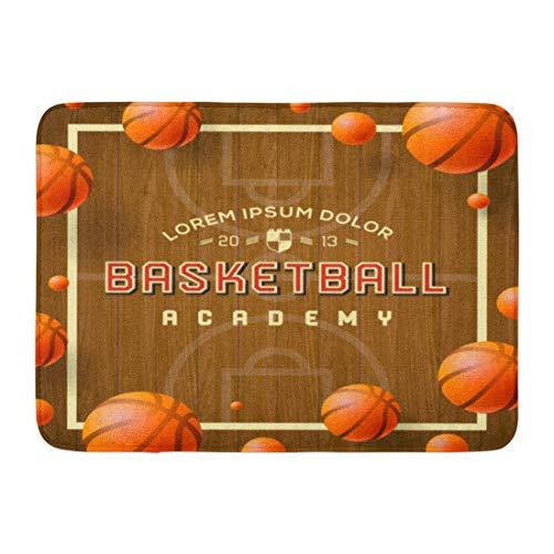 - Emvency Bath Mat Court Madness Basketball Academy Announcements Games Leagues Camps and More March Ball Bathroom Decor Rug 16