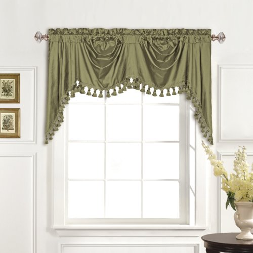 (United Curtain 100-Percent Dupioni Silk Austrian Valance, 108 by 30-Inch, Sage)