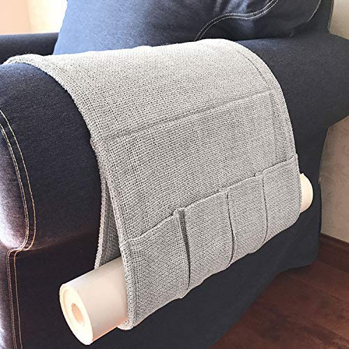 JINTN - Organizador de sofá de Lino y algodón Antideslizante para reposabrazos de TV, Soporte para Mando a Distancia, Organizador de Bolsillo, Libros, ...