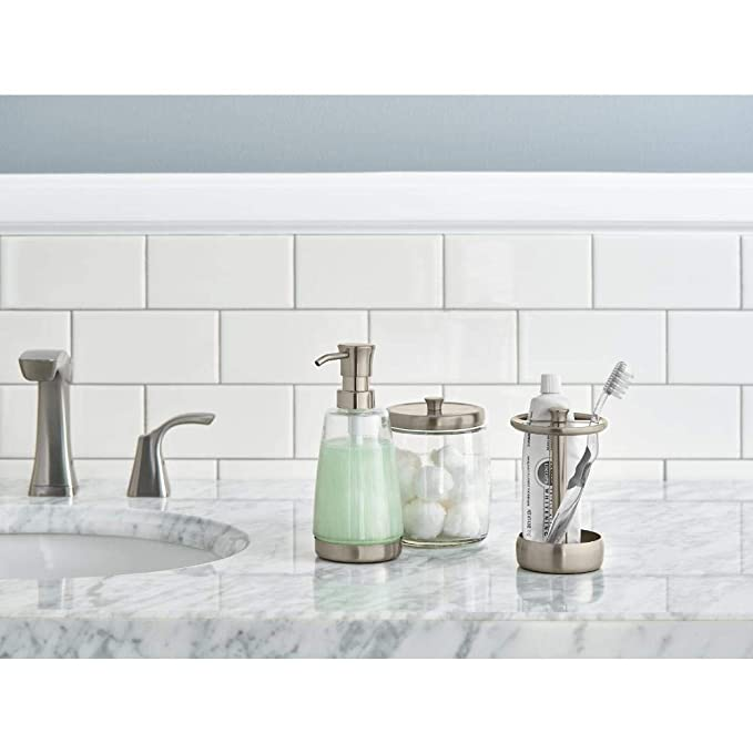 Amazon.com: Delta 3-Piece Bathroom Countertop Accessory Kit in Satin Nickel, Soap Glass Dispenser, Toothbrush Holder, Glass Apothecary Jar: Home & Kitchen