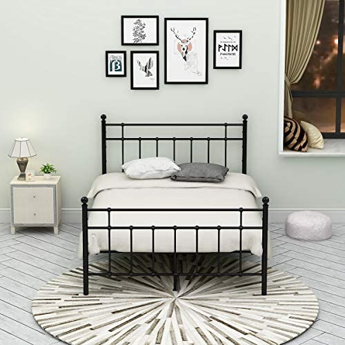 Metal Bed Frame Platform Assemble Easily Mattress on Top with Steel Headboard and Footboard Black Full Size Iron Round Slat Mattress Foundation Modern Style No Box Spring Full, Black