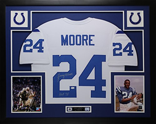 (Lenny Moore Autographed White Colts Jersey - Beautifully Matted and Framed - Hand Signed By Lenny Moore and Certified Authentic by JSA COA - Includes Certificate of Authenticity)