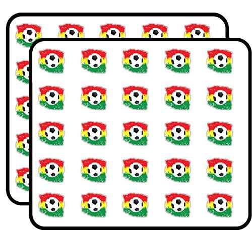 Grunge Ghana Flag Soccer Ball Art Decor Sticker for Scrapbooking, Calendars, Arts, Kids DIY Crafts, Album, Bullet Journals 50 Pack ()