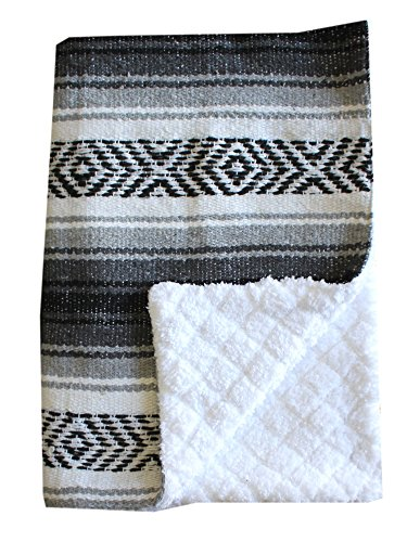 Handmade Infant Toddler Blanket - Del Mex Baja Baby Mexican Baby Toddler Blanket paired with Soft Sherpa (Grey)