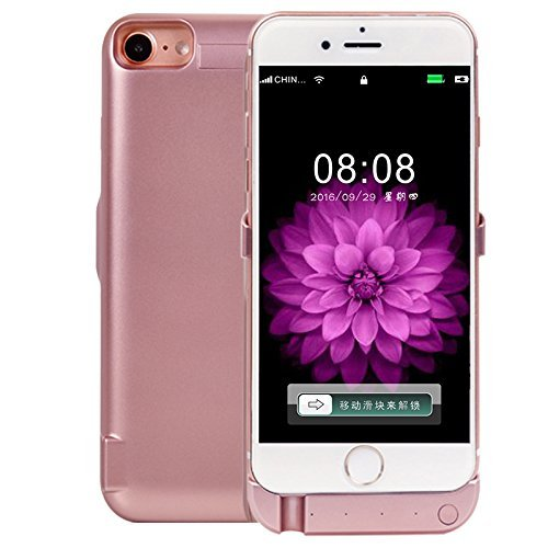 EX1 External Rechargeable Battery Case PowerBank 8000mAh with USB Port for Apple iPhone 7 Plus (Rose Gold)