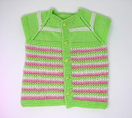Knits for Babies Button-Up Sleeveless Handmade Baby Vest-18M