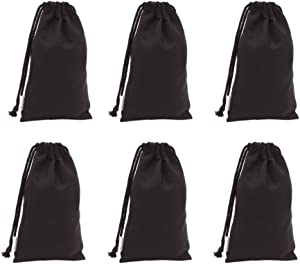 Augbunny 100% Cotton Canvas Favor Bag Pouch with Drawstring 6-Pack (Small, Black)