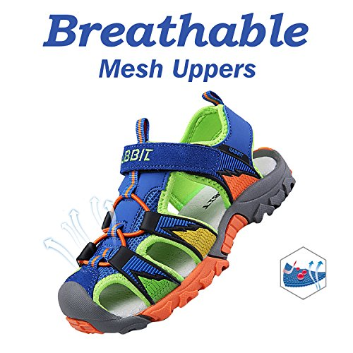 Bigcount Boys Girls Outdoor Sport Closed-Toe Sandals Kids Breathable Mesh Water Athletic Sandals Shoes