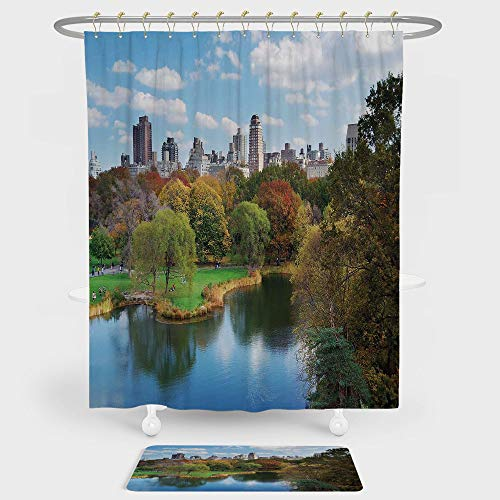 iPrint New York Shower Curtain And Floor Mat Combination Set Central Park in Autumn with Lake Trees and Manhattan USA American Nature Image For decoration and daily use Multicolor