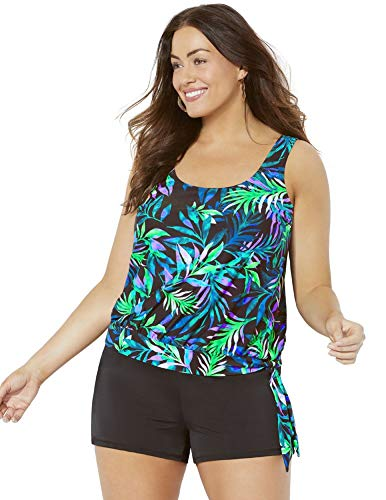 SWIMSUITSFORALL Swimsuits for All Women's Plus Size Wildwood Side Tie Blouson Banded Shortini 14 Multi (Banded Blouson)