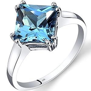 14K White Gold Swiss Blue Topaz Solitaire Ring 2.75 Carat Princess Cut