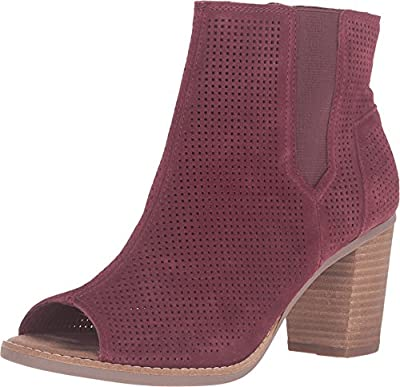 TOMS Women's Majorca Peep Toe Bootie Oxblood Suede Perforated Boot 11 B (M)