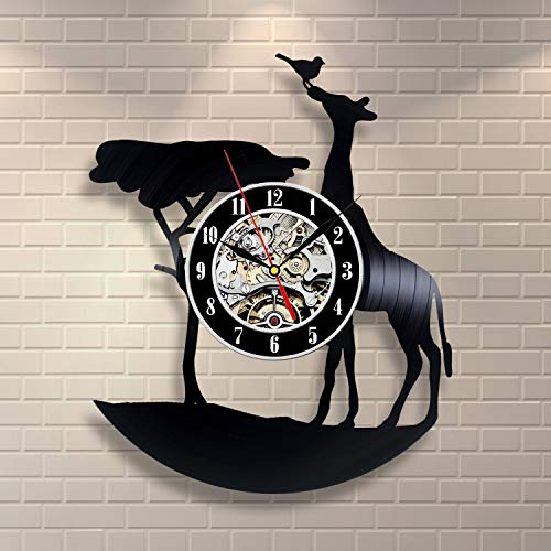 Everyday Arts Giraffe Art Design Wall Clock Gift Housewarming Gift Happy Birthday Gift for Adults Children Him Her Gift for Neighbours Congratulation Gift for Men Women (For Christmas Neighbours Gifts)