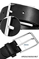 Soponder Belts for Men Black and Brown Leather Belts Big and Tall Black and Silver Buckles Dress Belts All Sizes