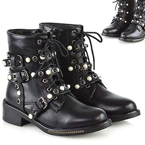 Womens Lace Up Ankle Boots Ladies Buckle Strap Zip Up Pearl Low Block Heel Military Booties Shoes
