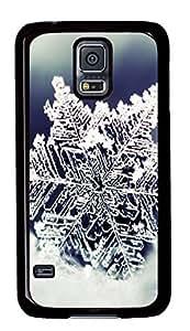 Diy Fashion Case for Samsung Galaxy S5,Black Plastic Case Shell for Samsung Galaxy S5 i9600 with Snowflake