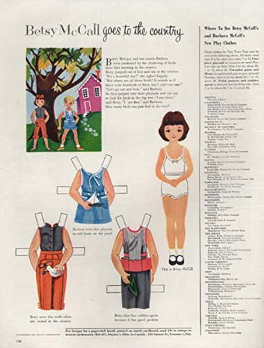Betsy McCall goes to the country paper doll magazine page 1954