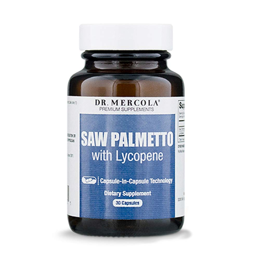 Dr. Mercola Saw Palmetto with Lycopene - 30 Licaps - Superior Prostate Support - With Saw Palmetto Extract Grown in the USA - Capsule-in-Capsule Technology - Premium Prostate Health Supplements for Men