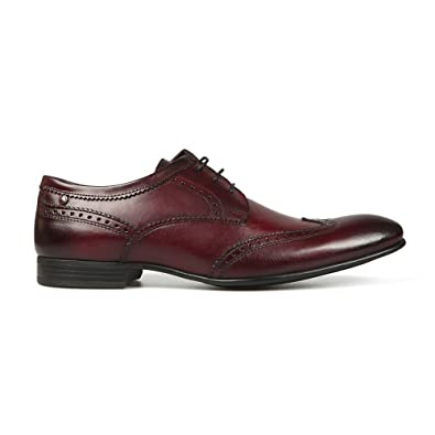 507c6fd81a98c Base London Purcell Mens Washed Leather Brogue Shoes Bordo: Amazon.co.uk:  Shoes & Bags