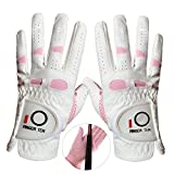 Amy Sport Golf Gloves Women Left Hand Right All Weather Rain Grip Value 2 Pack, Ladies Soft Pink Glove Lh Rh Both Hand Fit Size Small Medium Large XL (Large, 1 Pair)