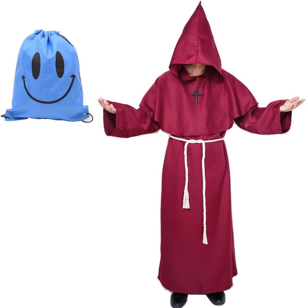 Myir Disfraz de Monje Sacerdote Túnica Medieval Renacimiento Traje con Cruz para Halloween Carnaval (S, Rojo)