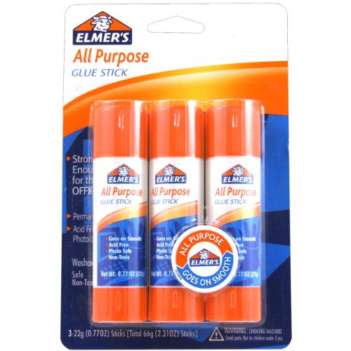 ELMERS All-Purpose Glue Sticks, Large, 0.77 Oz Each, 3 Sticks Per Pack (E5022)
