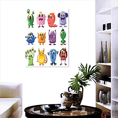 Funny Landscape Wall Stickers Animated Bacteria Aliens Theme Germ Whimsical Cartoon Monsters Humor Faces Graphic Wall Art Stickers 16