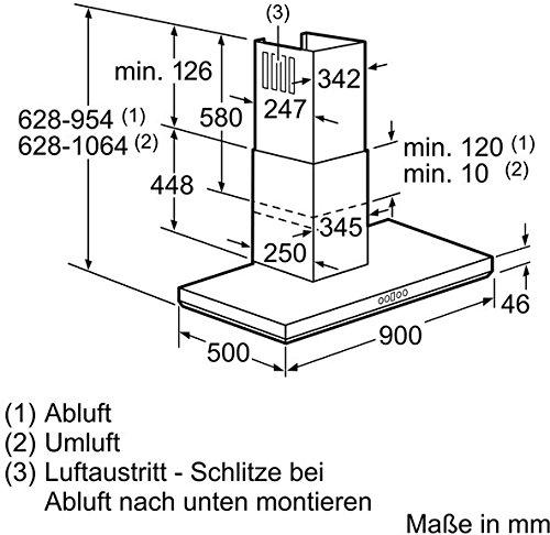 Bosch DWB098E50 Serie 6 Wandhaube 90 cm oder Umluftbetrieb Wahlweise Abluft edelstahl EcoSilence Drive