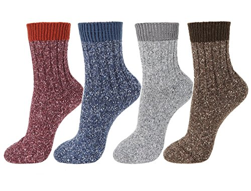 Acrylic Rib Socks (Winter Women Casual Knit Ankle High Socks (One Size, Wool/Acrylic-Rib 4Pair))